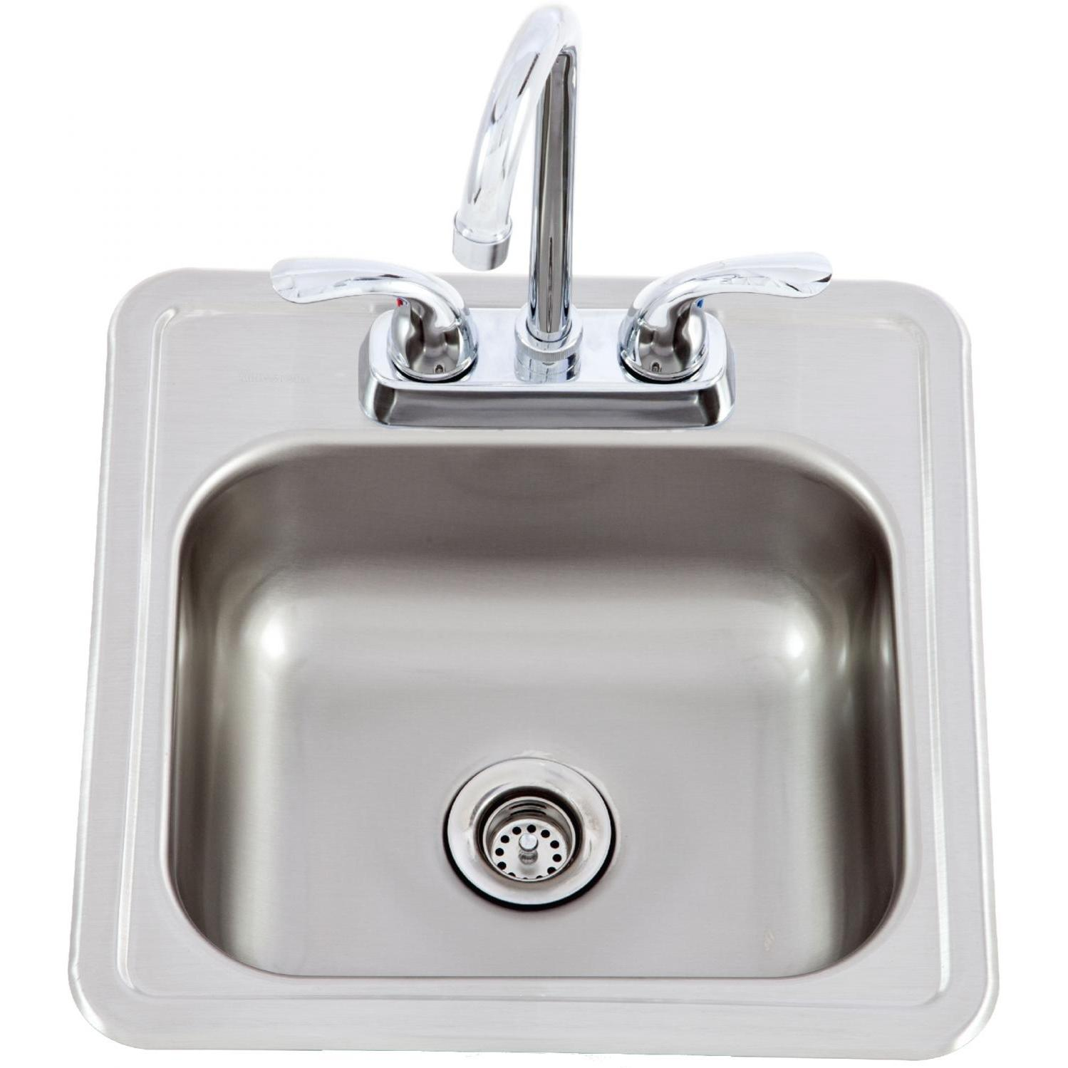 Lion 15 X 15 Outdoor Rated Stainless Steel Sink With Hot Cold Faucet Sink Outdoor Kitchen Bars Bar Faucets