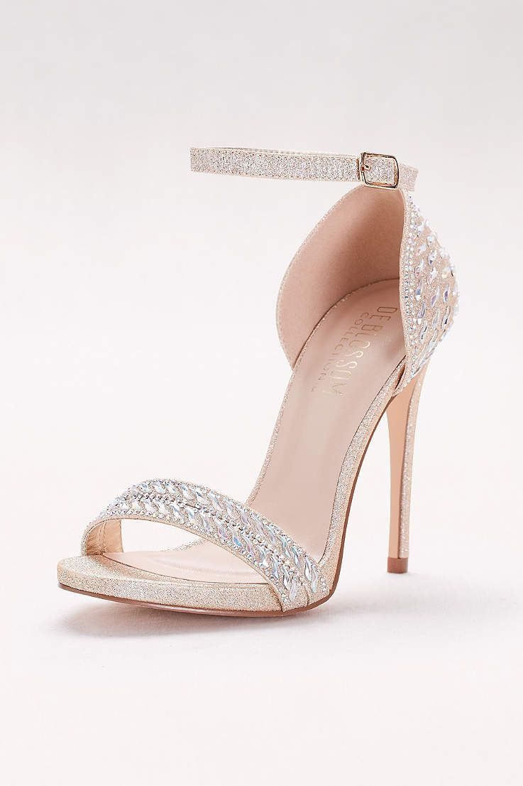 Blossom Beige Peep Toe Shoes (Metallic Ankle-Strap Sandals with Iridescent  Gems) 1ffe01ebe2a1