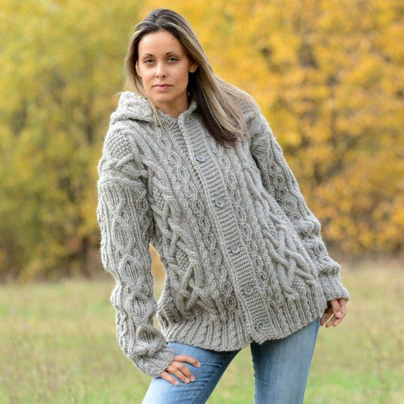 Hand Knitted Boutique Wool Coat Cardigan Light Gray Sweater