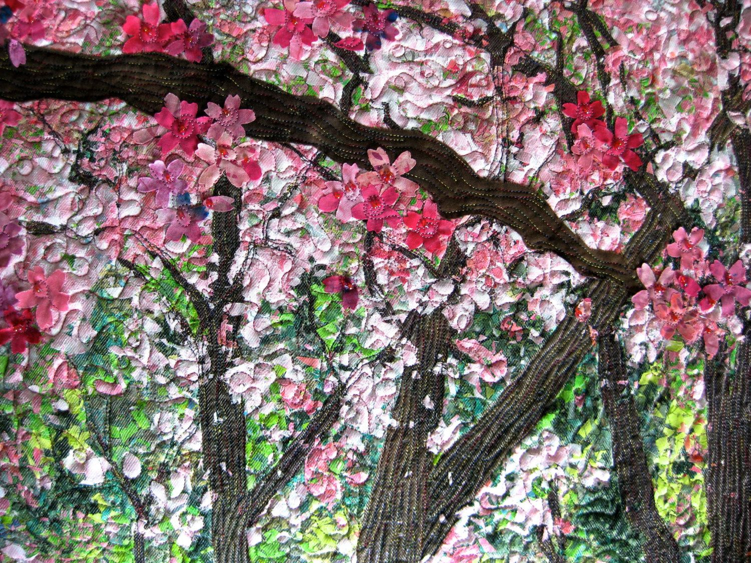 Reserved For Theca Quilted Cherry Blossom Wall Hanging Confetti Art Quilt Landscape Art Quilts Art Quilts Landscape Quilt