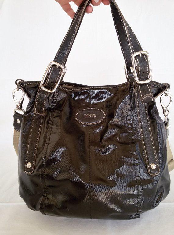 a19da21b04b09 TOD'S Authentic Black Canvas Shoulder Bag/ PREOWNED Black Shiny Coated  Canvas Bucket Bag/ Crossbody