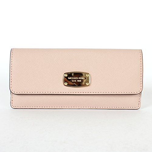 9663978f2b3d Michael Kors Jet Set Travel Flat Saffiano Leather Wallet (Ballet Pink)