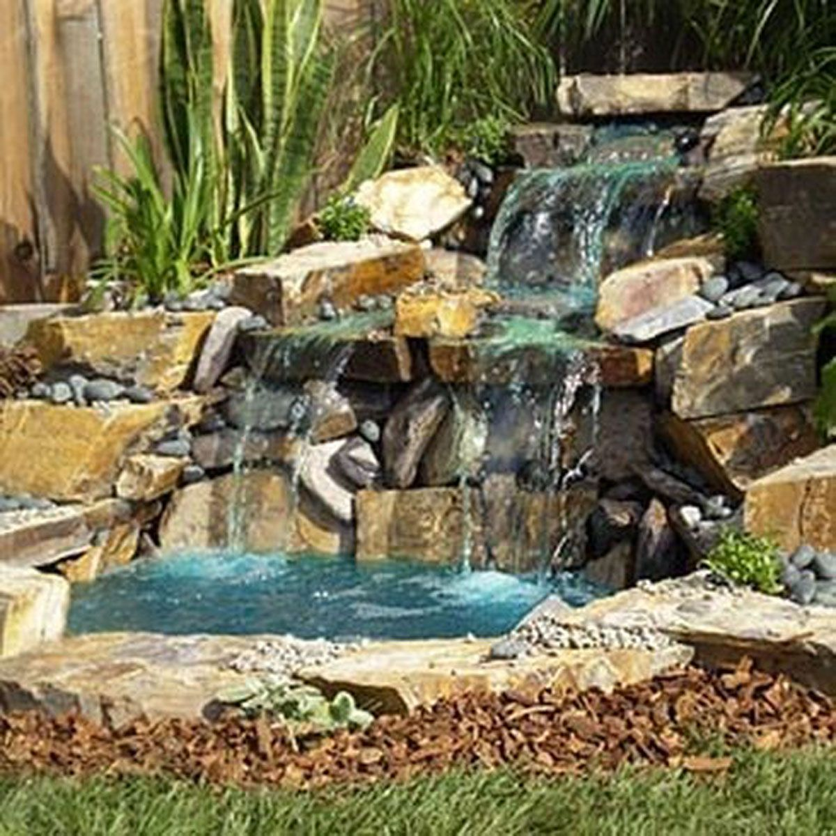 Beautiful Backyard Waterfall Exterior Design Interior Design - Backyard waterfall ideas