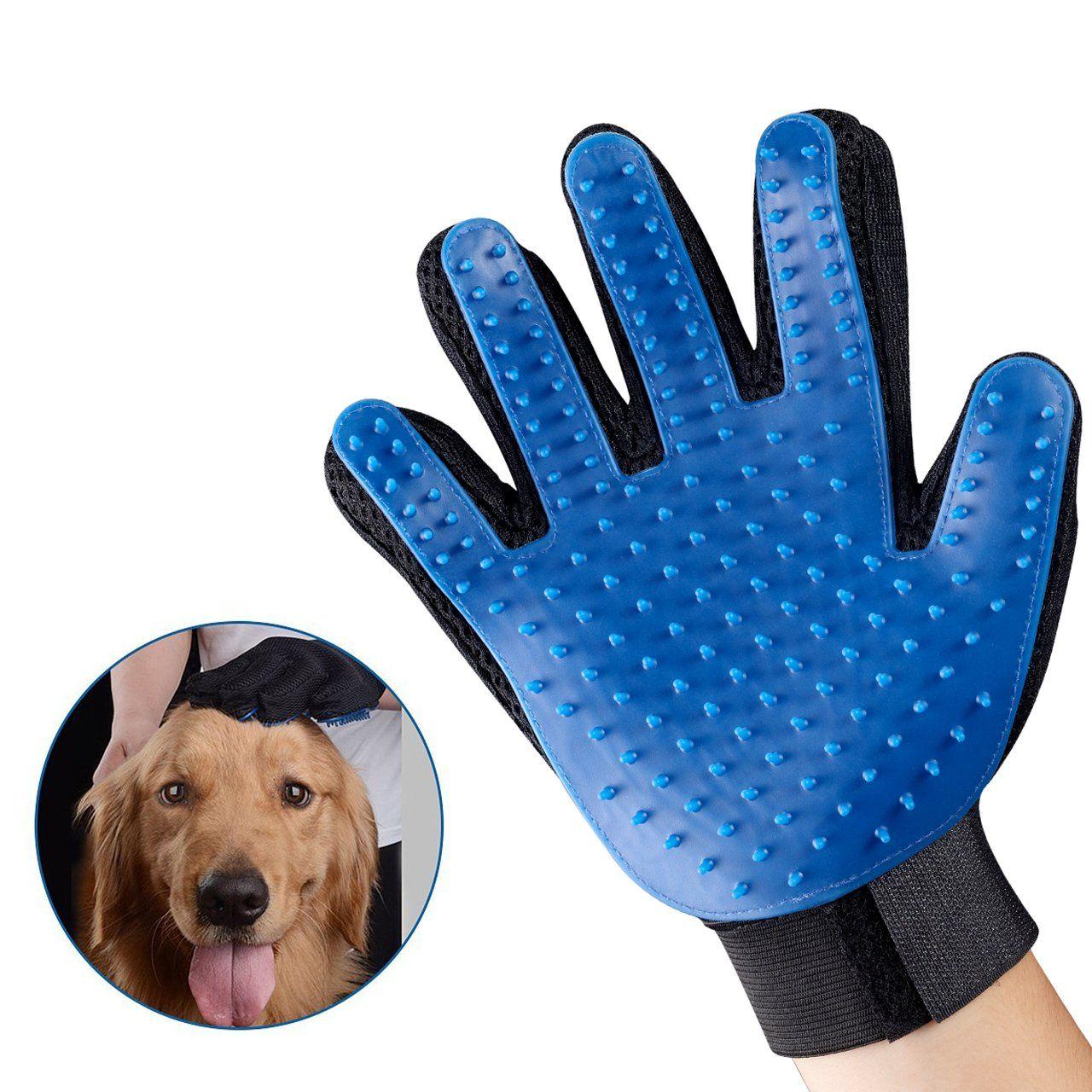 Pet Grooming Glove Gentle Deshedding Brush Glove Efficient Pet Hair Remover Mitt Massage Tool With Enhanced Five Finger Design Per Dog Cat Pet Grooming Pets