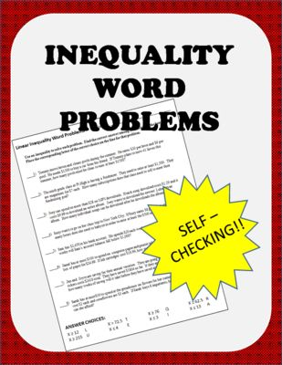 inequalities word problems worksheet self checking from the math factory on teachersnotebook. Black Bedroom Furniture Sets. Home Design Ideas