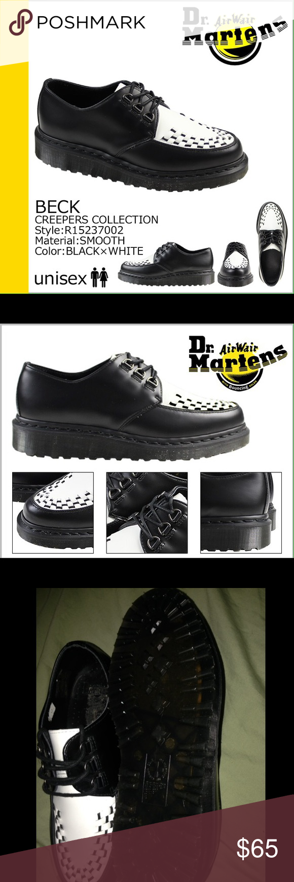 "Dr. marten shoes Dr. marten ""creeper"" shoes never worn outside or walked in just tried on. No box. still with authentic tag approving real doc marten brand. Marked as a men's size 6 but shoes are unisex will fit a woman size 8 Dr. Martens Shoes Platforms"