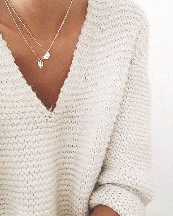 Sweet   simple - a white sweater is always a good idea! | fill my ...