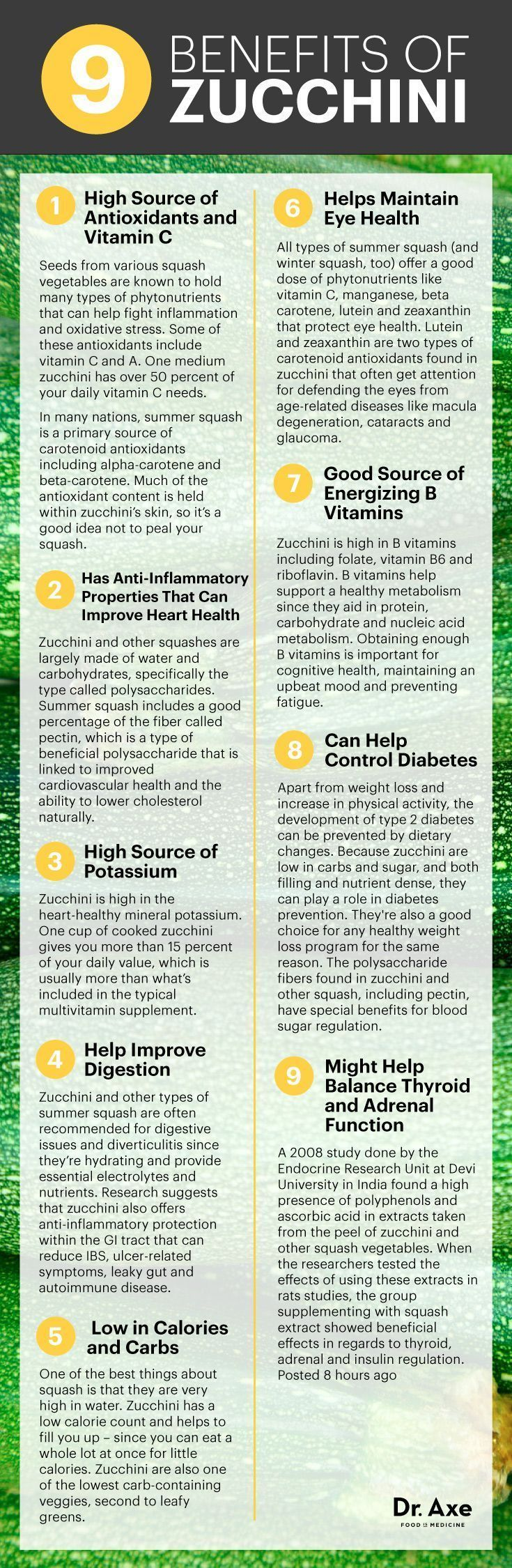 Zucchini benefits infographic - Dr. Axe  #health #holistic #natural