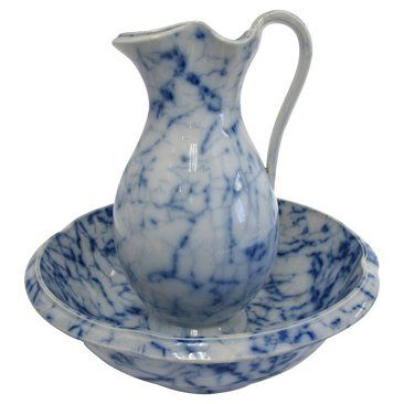 Check out this item at One Kings Lane! Antique Davenport Flow Blue Jug & Bowl