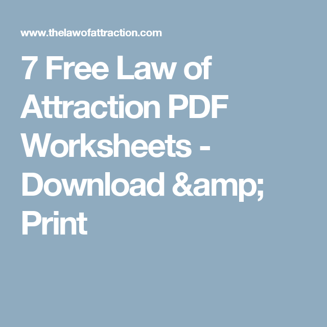 7 Free Law of Attraction PDF Worksheets Download Print – Law of Attraction Worksheets