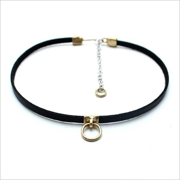 """Luiny   First carved from wax by hand then cast in solid brass Soft black leather choker with suede backing 12 1/2"""" long with 3"""" extension Handmade in NYC"""