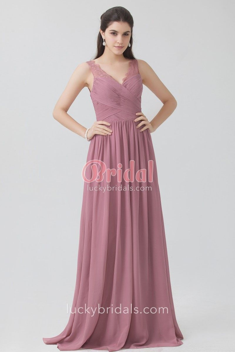 c46e639b84a Pleated dusty rose chiffon elegantly vintage A-line long bridesmaid dress.  Sleeveless V neckline with lace straps. Natural waist.
