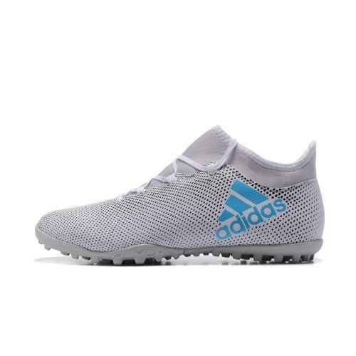 godt adidas x 17.3 tf gra bla fodboldstovler