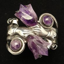 Early 1930s-40s Mexican Carved Amethyst Sterling Silver Bracelet from Little Mexican Silver Shop on Ruby Lane