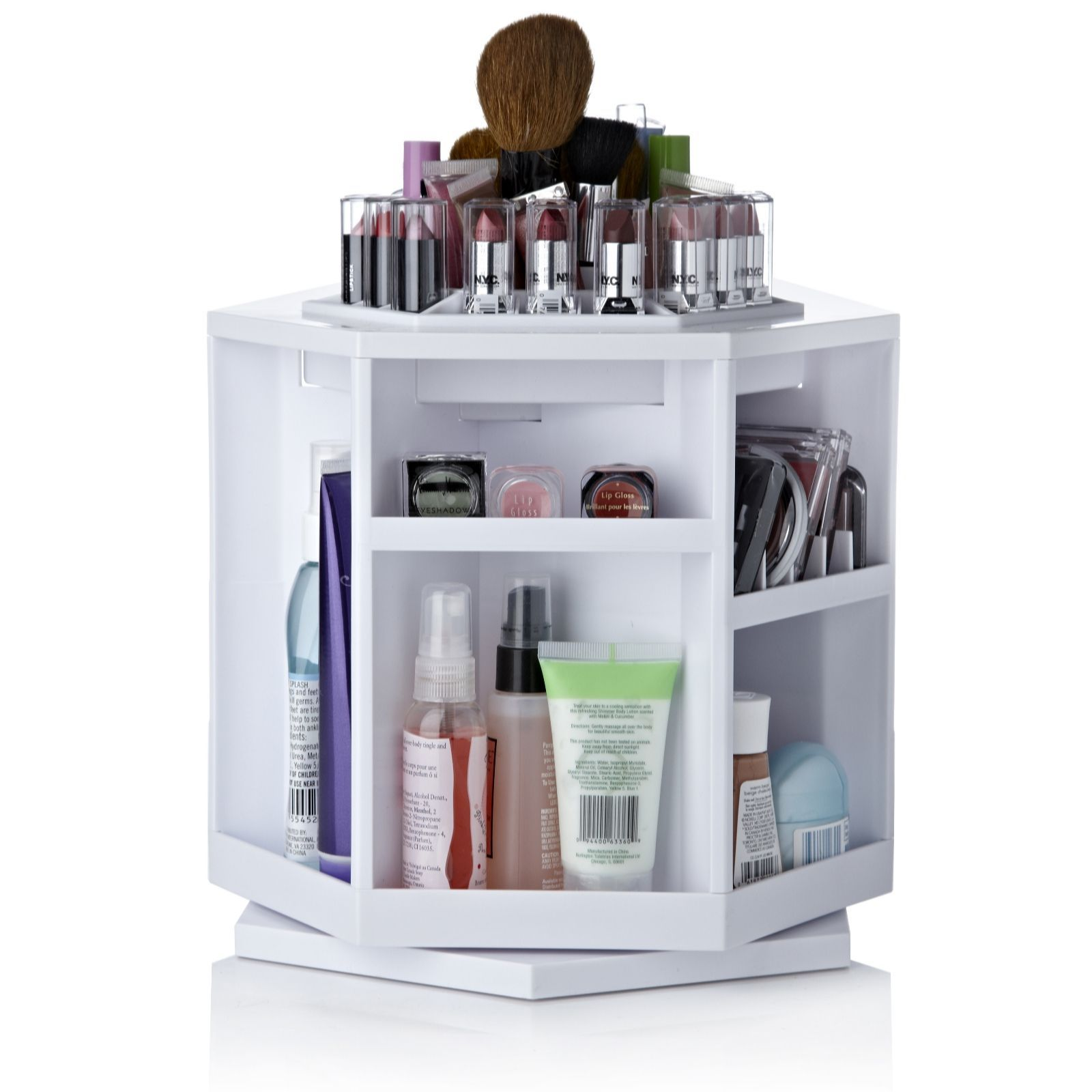 Qvc Makeup Organizer Entrancing Summer Surprise Offer759257 Tabletop Spinning Cosmetic Organiser Design Decoration