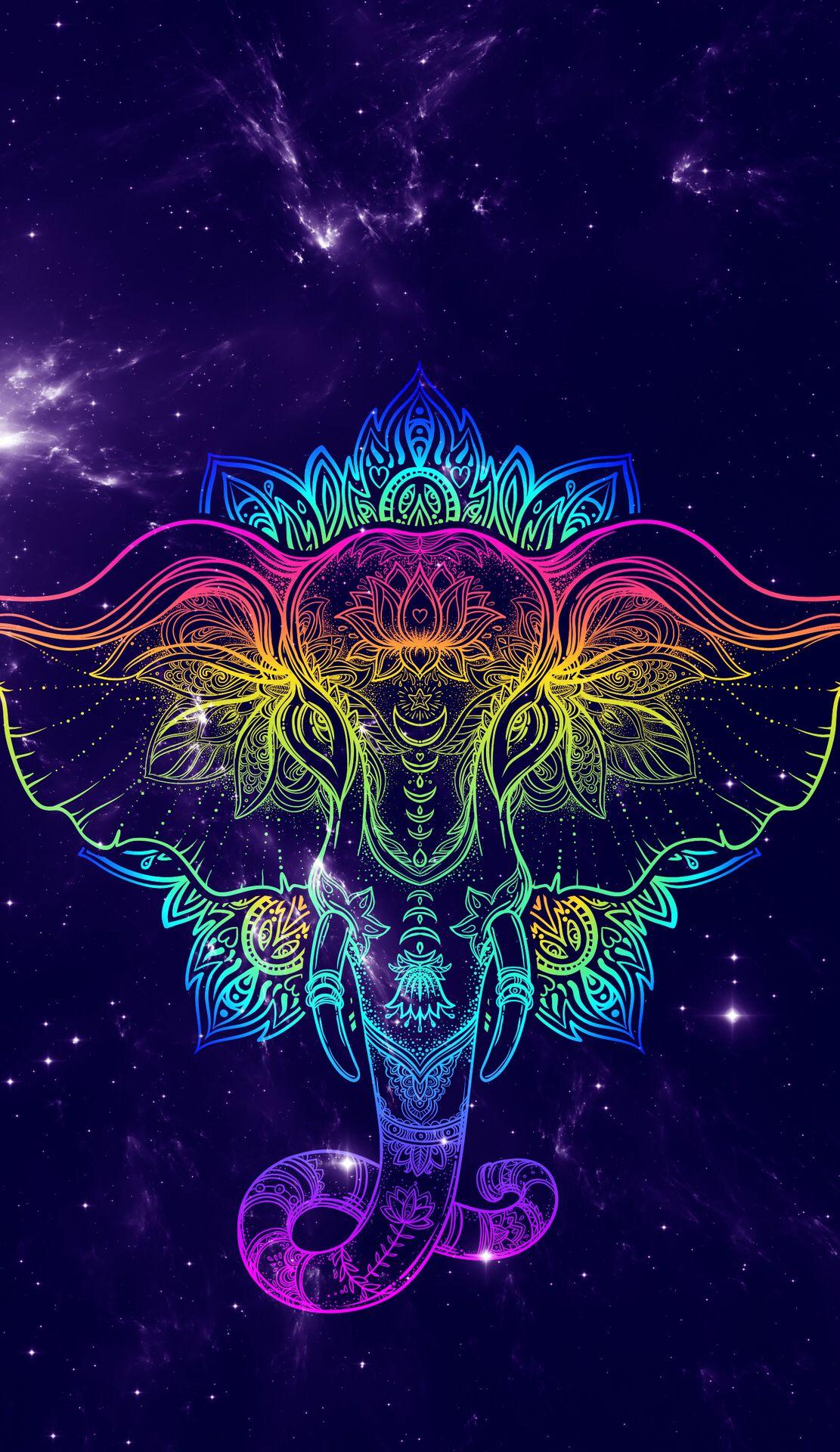 Elephant wallpaper, Neon