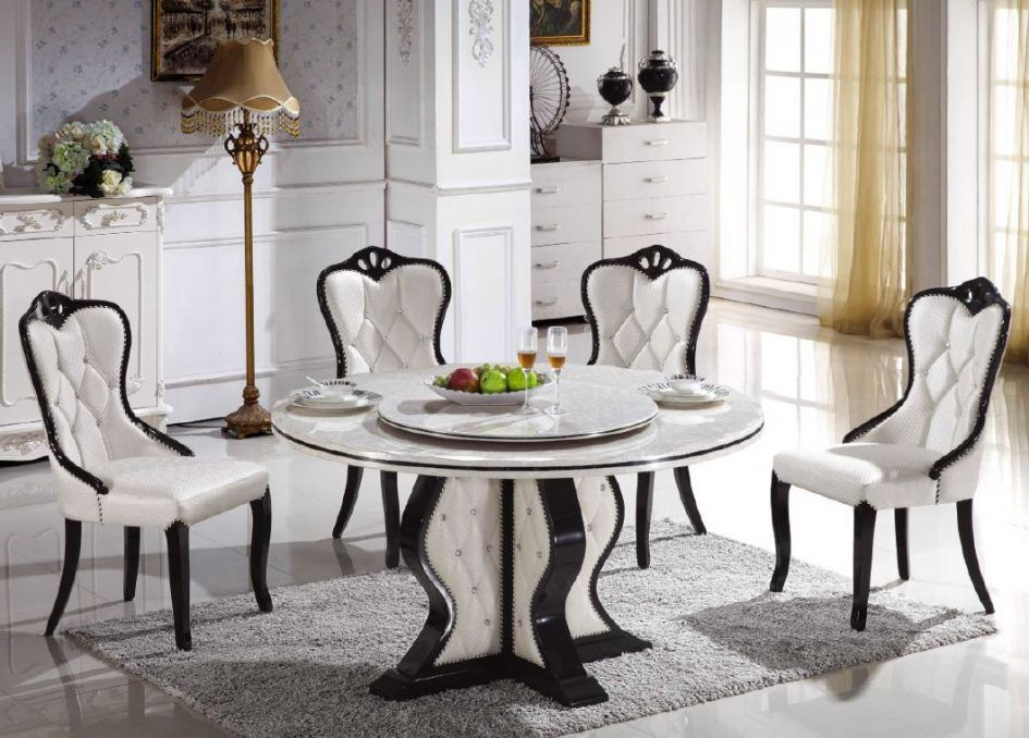 Dining Room Classic Round Marble Dining Table For 4 Dining Chairs Above White Ceram Round Marble Dining Room Table Dining Room Table Marble Dining Table Marble