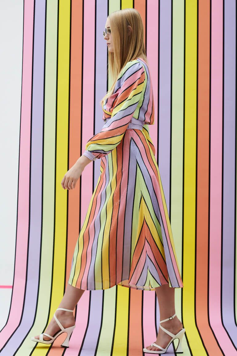 Indulge In Bold Rainbow Inspired Styles From Olivia Rubin Colourful Outfits Vibrant Dress Bold Outfit