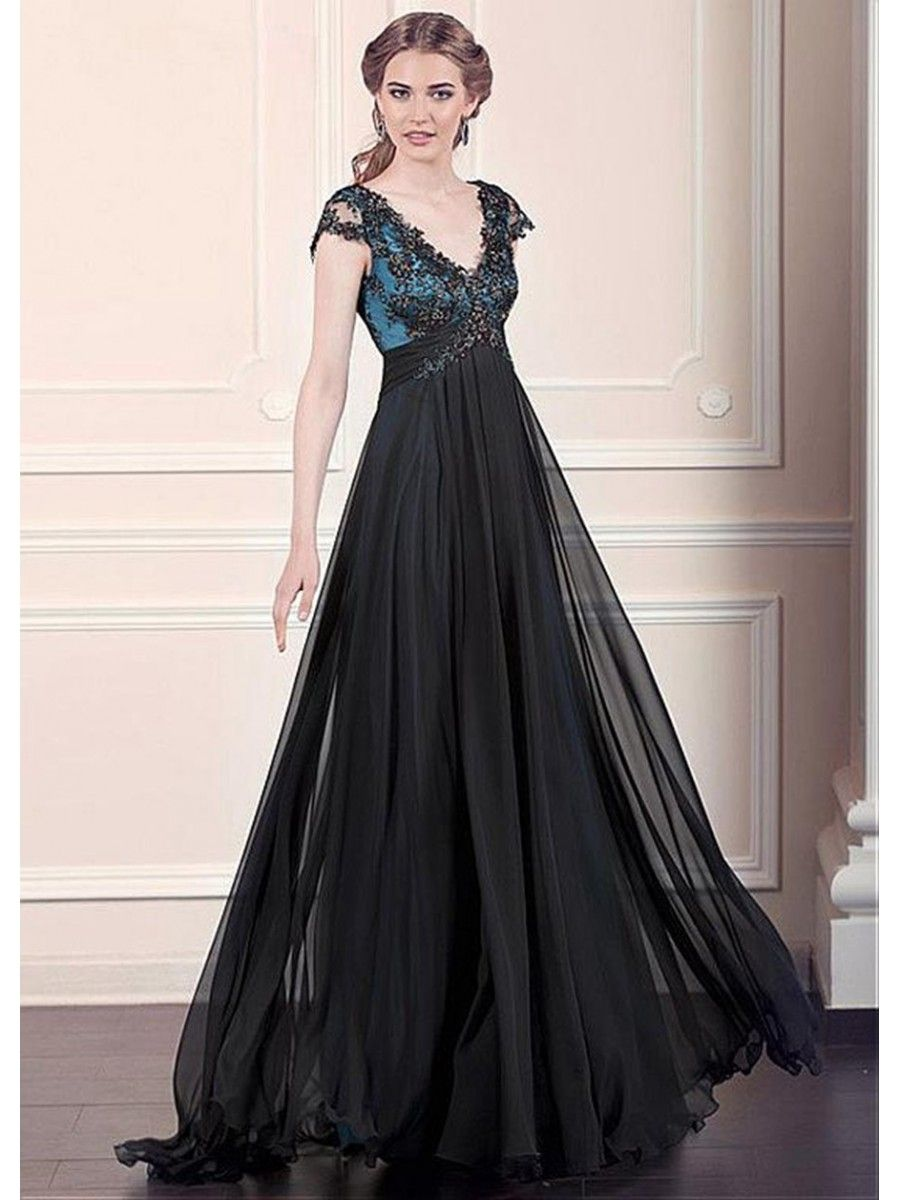 ALine Cap Sleeves Empire Lace Chiffon Long Black Prom