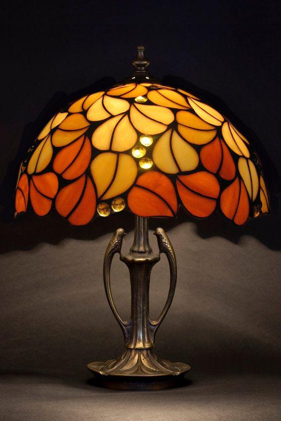Tiffany Lamp Amber Glass Lamp Bedside Lamp Table Lamp Etsy