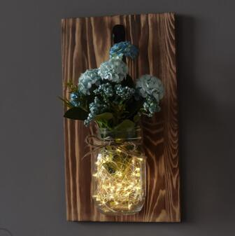 Rustic Mason Jar with LED Lights & Flowers for Home Decoration images