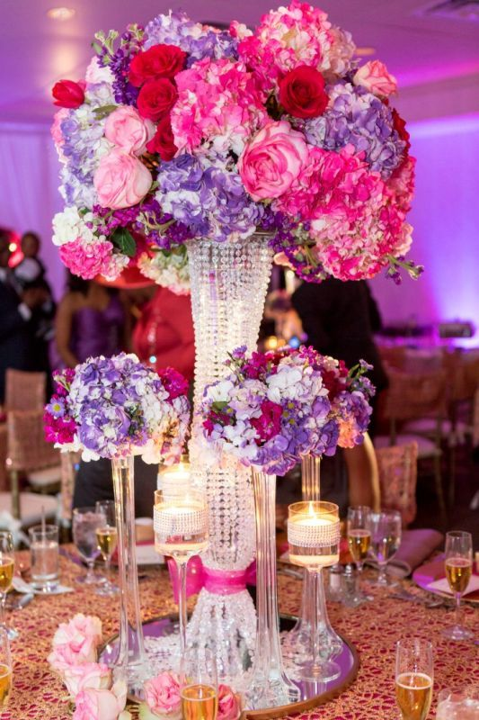 Fuschia Purple And Gold Wedding Centerpieces Pink Wedding