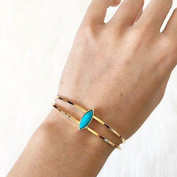 "New turquoise diamond shape double cuff bracelet Diameter: 2.25"" / size small / shop priscillama.com for free shipping Jewelry Bracelets"