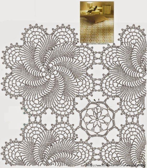 Todo crochet: Patrones de bellísima colcha crochet | Moldes ...