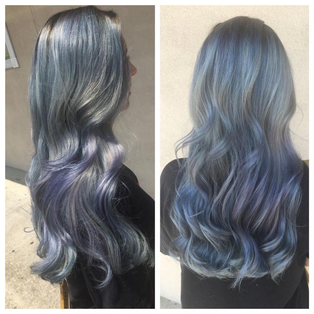 icy blue gray hair color with shards of purple streaks.   Hair of ...
