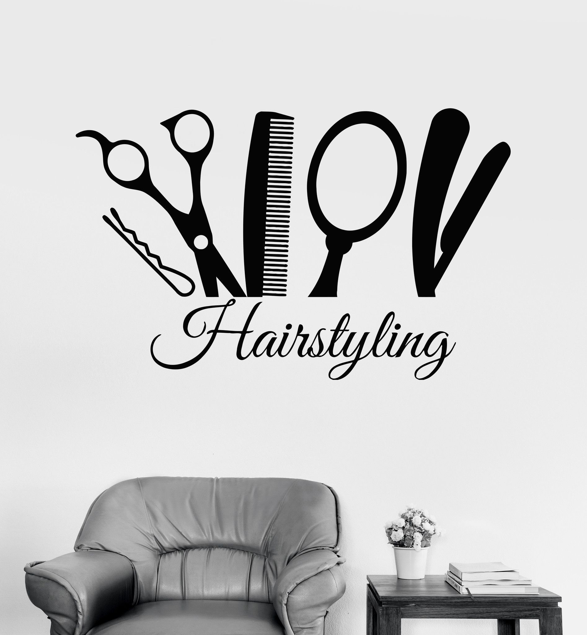 Vinyl Wall Decal Hairstyling Barber Tools Hair Salon Stylist Stickers Unique Gift Best