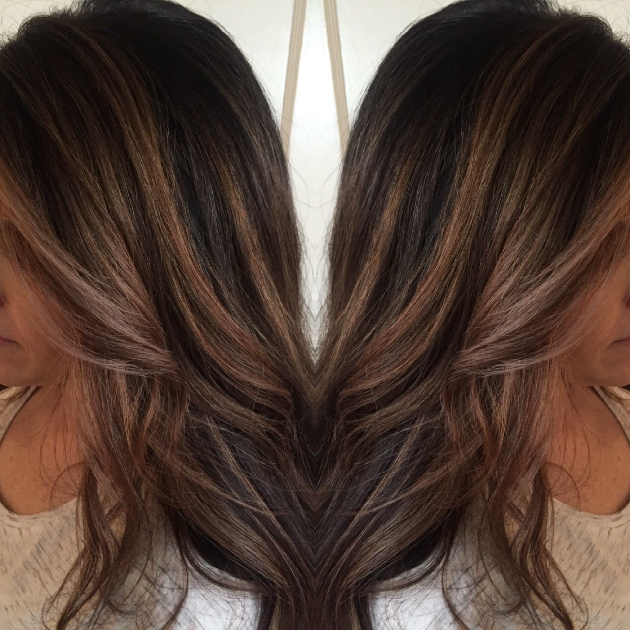 Ashy Blonde Highlights To Add Dimension For This Dark Haired Girl