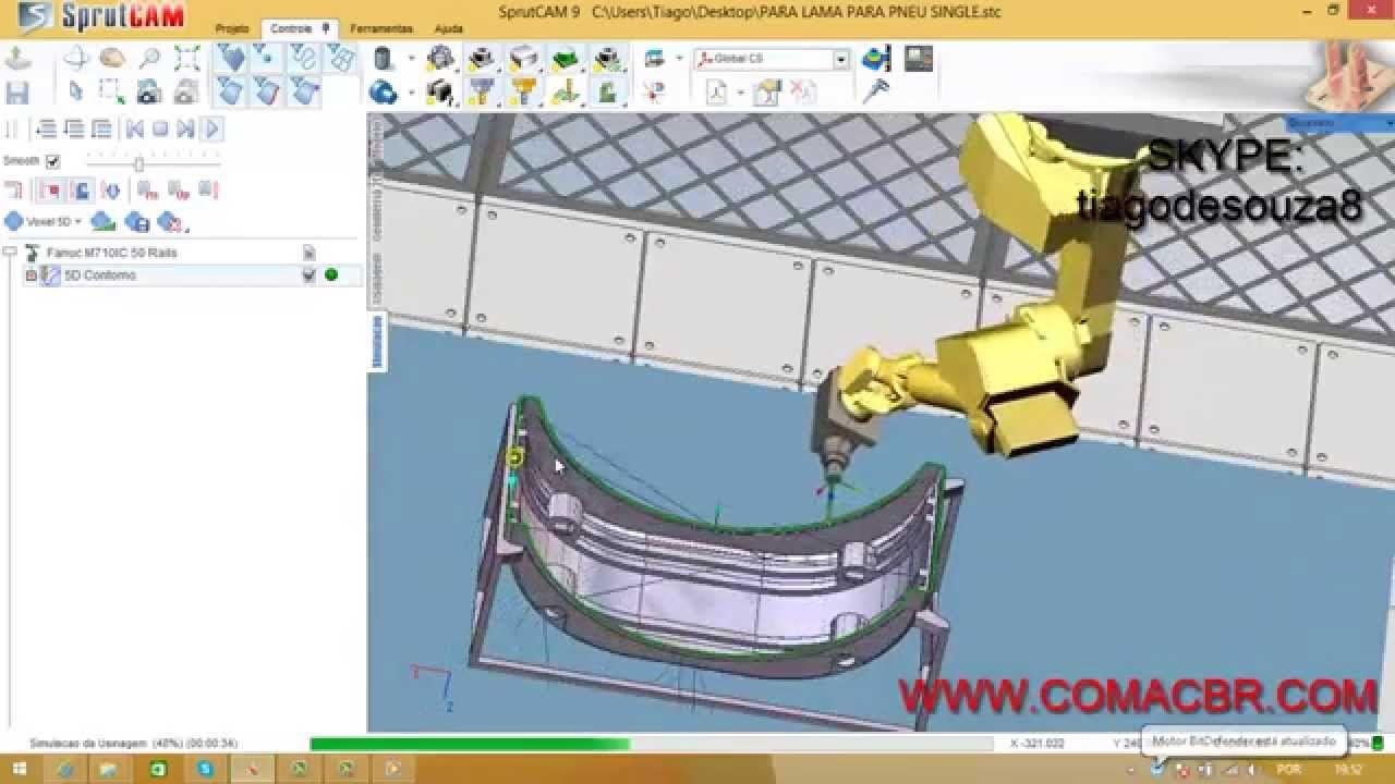 Off-line programming for deburring parts in SprutCAM Robot for FANUC