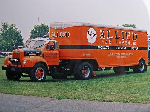 Allied Van Lines Vintage B Mack W Moving Van Trailer With