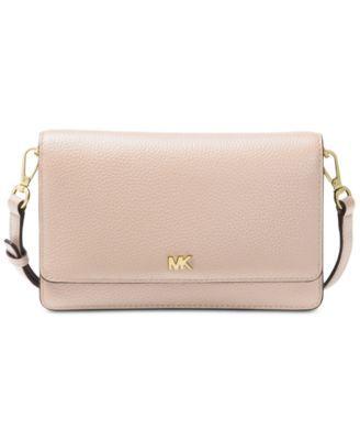 66ef225c07e9 Michael Michael Kors Pebble Leather Phone Crossbody Wallet - Black/Gold