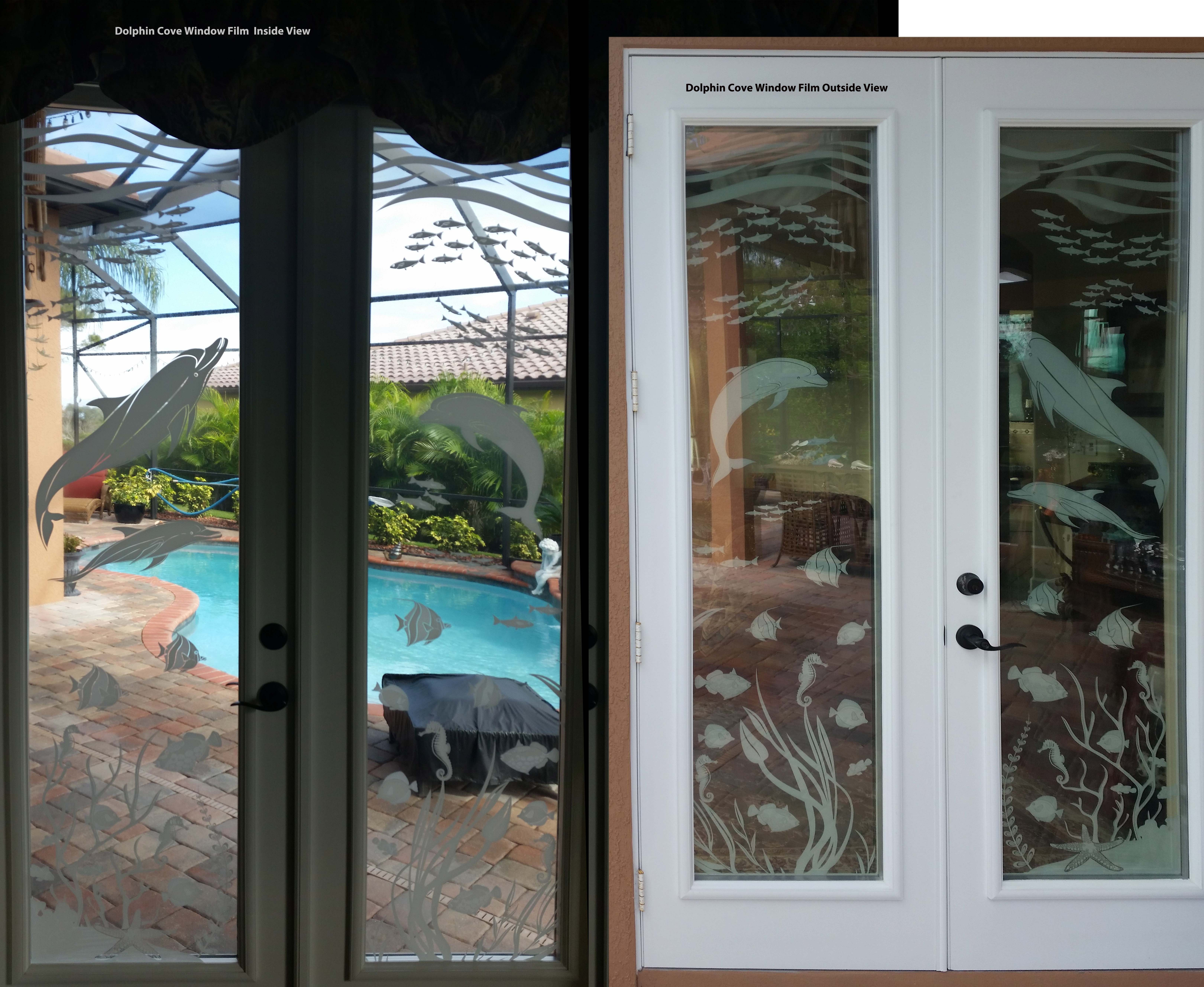 dolphin cove underwater scene etched see through window. Black Bedroom Furniture Sets. Home Design Ideas
