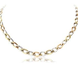 """Endless Tricolore Necklace - An 18"""" necklace with alternating links of yellow, white and rose gold. Slim and flat, the necklace sits flat against the body. A simple design with a little look of the 80s, but in a good way."""