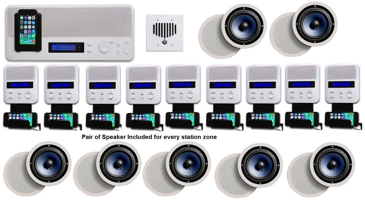 Music Intercom System In Wall Audio With Bluetooth And Ipod Dock Multi Room Audio System Multi Room Audio Audio