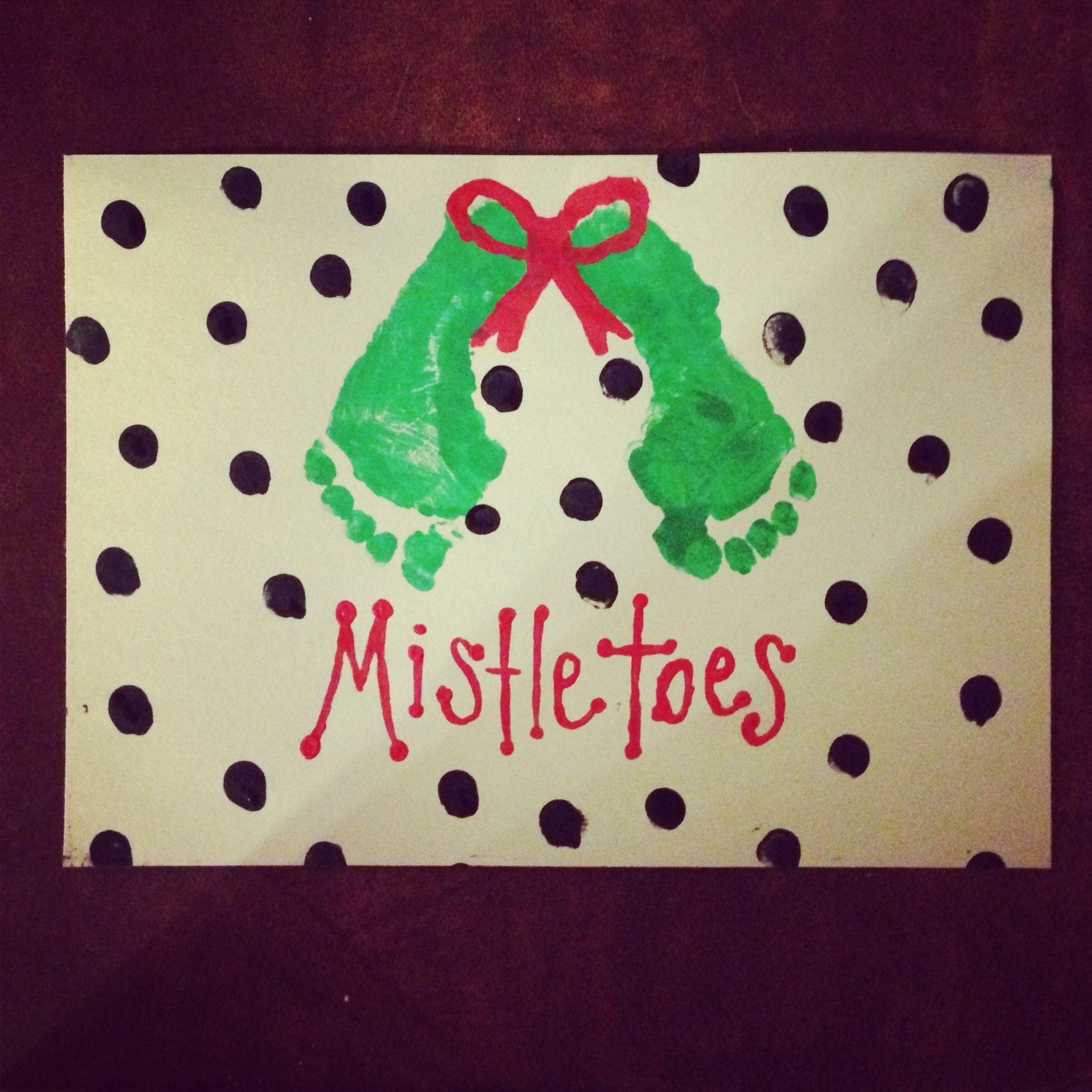 Mistletoes Christmas Crafts Painted Footprint