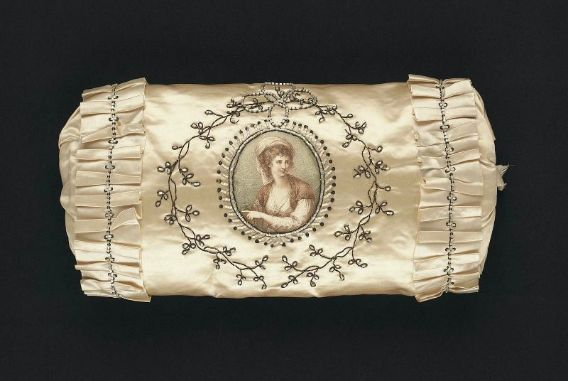 Muff. English, 1785–1800. Silk satin with mezzotint; embroidered with metallic thread, beads, and spangles - in the Museum of Fine Arts Boston.