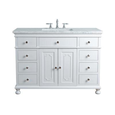 Stufurhome 48 In Abigail Embellished Single Sink Vanity In White