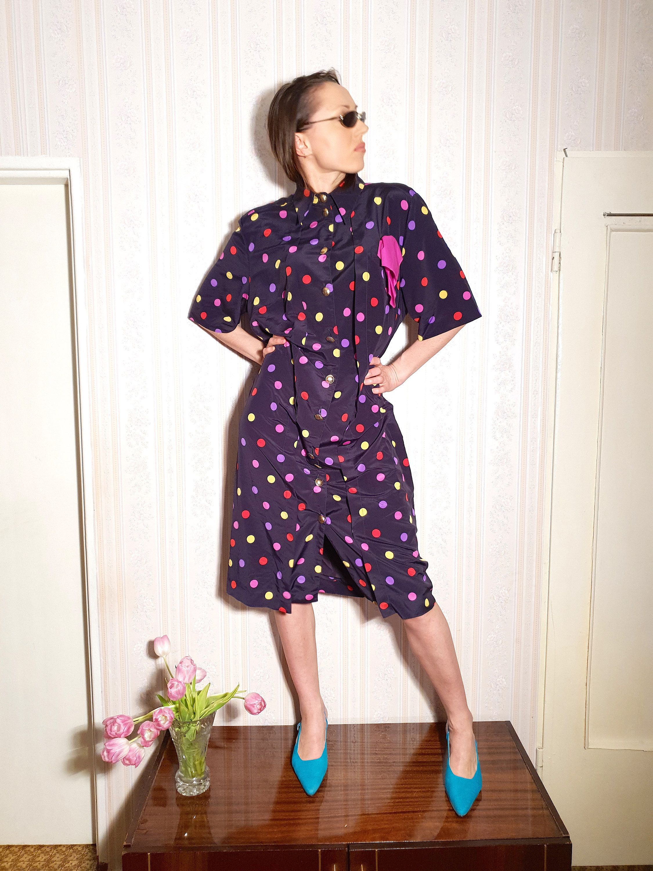 Vintage polka dot midi dress 90s 80s casual dress summer