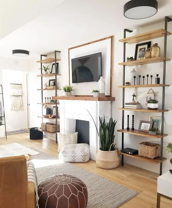 Love White Walls With Black And Natural Wood Accents Living Room Decor Modern Room Furniture Design Furniture Design Living Room