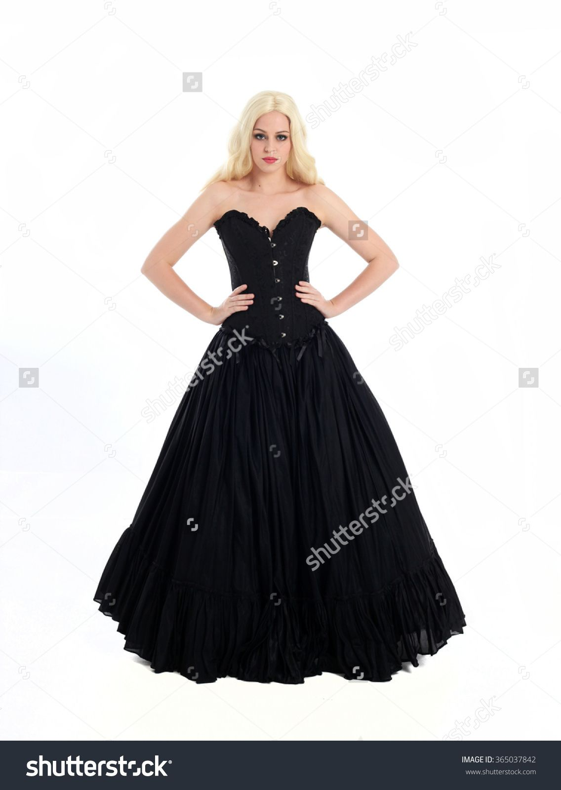 Blonde Haired Woman Wearing Long Black Gothic Gown With Corset. Standing Pose, Isolated Against White Background. Stock Photo 365037842 : Shutterstock