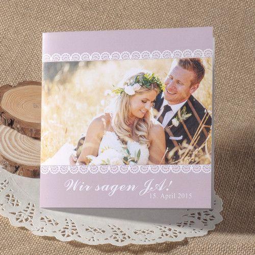 Günstige Einladungskarten Hochzeit Online  Optimalkarten Lila Spitze Foto  Hochzeitskarte Einladung   Papiersorte: Glattes Feinpapier Farbe Der Karte:  Lila ...