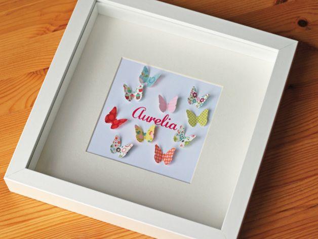 Wandgestaltung Papier Schmetterlinge 04 Geburtsbild