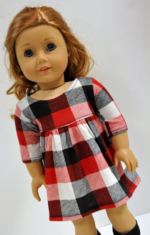 Plaid Doll Dress -  18 Inch Doll Clothes - 18 Inch Doll Dress - Red White and Black Plaid Doll Dress #dolldresspatterns