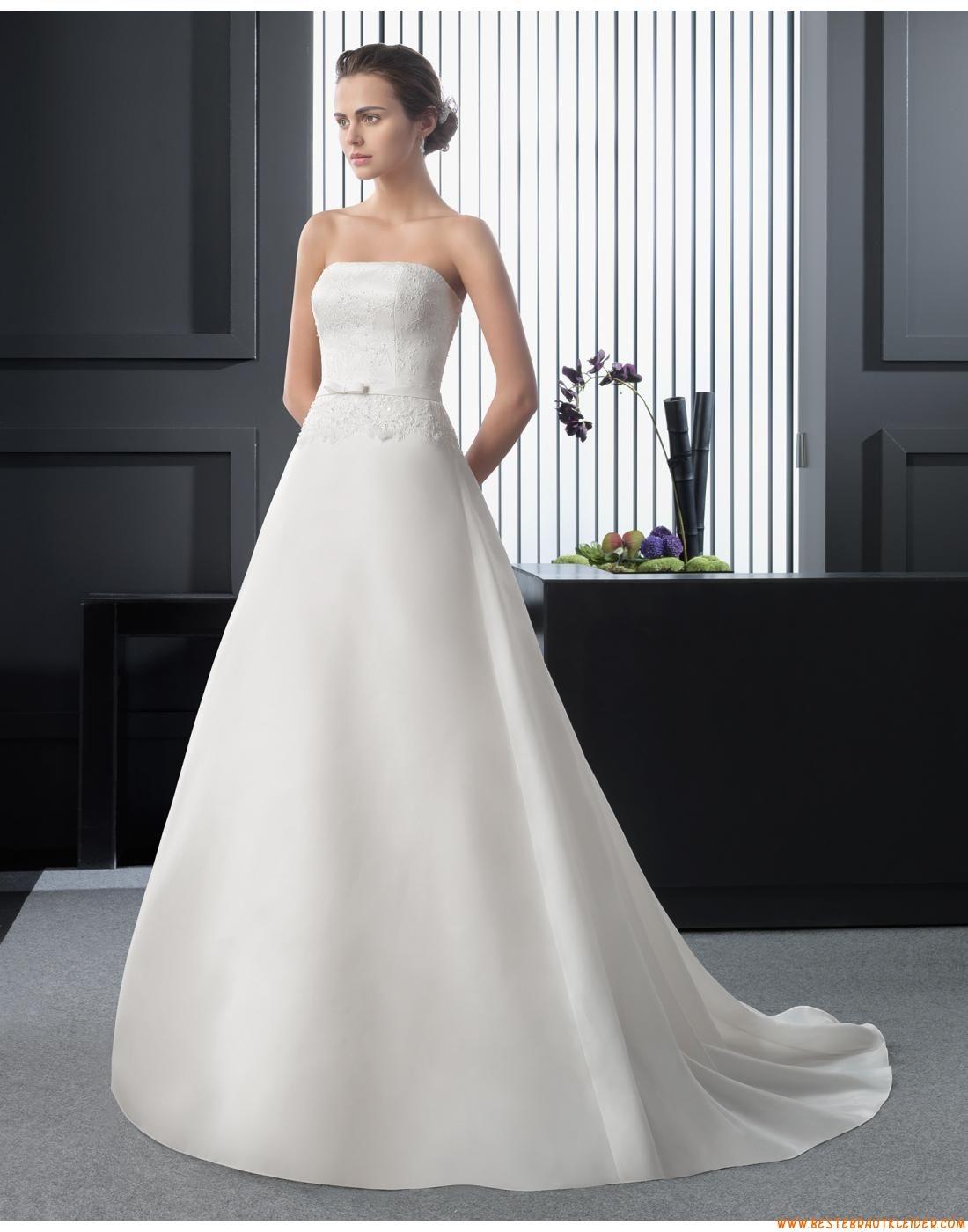 2015 A-linie Schlichte Schicke Brautkleider aus Organza mit ...