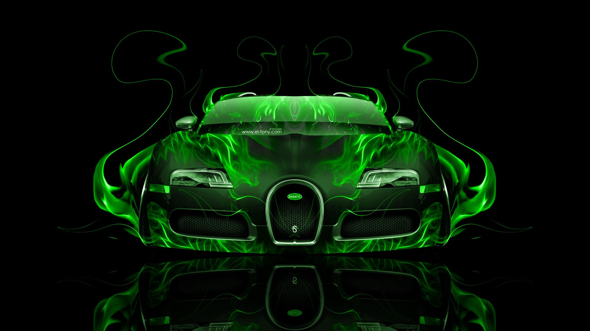 Bugatti Veyron Front Water Car 2014 Green Neon Design By Tony Kokhan Car  Pictures
