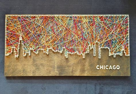 Chicago-Skyline-Schnur-Kunst - Chicago-Skyline - Chicago-Kunst - Künstler #selbstgemachteleinwandkunst