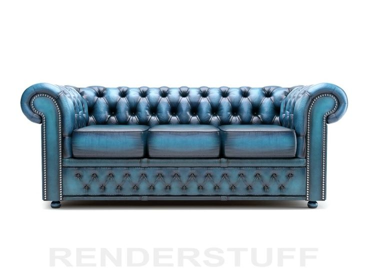 Turquoise Leather Chesterfield Sofa.